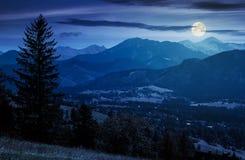 Beautiful landscape of zakopane valley at night. In full moon light. popular tourist destination in hight tatra mountains. summer vacation in poland Stock Photography