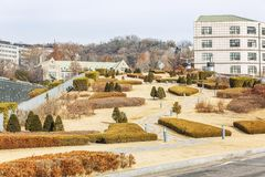Beautiful landscaped autumn park. The territory of the University of Seoul. Horizontal royalty free stock images