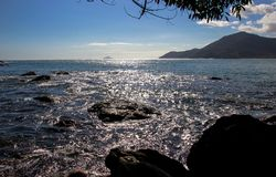 Beautiful landscapes can be found in Maresias, Brazil stock photo