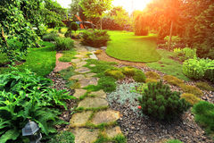 Beautiful landscaping with beautiful plants royalty free stock photos