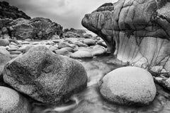 Beautiful landscpae of Porth Nanven beach Cornwall England black Royalty Free Stock Photos