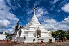 Beautiful of Lanna temple Wat Phra That Doi Kong Mu with blue sk Royalty Free Stock Photo