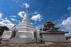 Beautiful of Lanna temple Wat Phra That Doi Kong Mu with blue sk Stock Photography