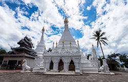 Beautiful of Lanna temple Wat Phra That Doi Kong Mu with blue sk. Y  .Mae Hong Son province,Thailand Royalty Free Stock Photography