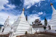 Beautiful of Lanna temple Wat Phra That Doi Kong Mu with blue sk Stock Photo