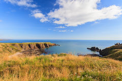 Beautiful lanscape of hill and rock at Dunnottar castle Royalty Free Stock Image