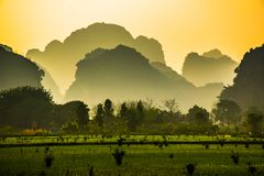 Free Beautiful Lanscape With Lake, River And Stunning Hills Of The Trang An, Ninh Binh, Vietnam Stock Photo - 125535360