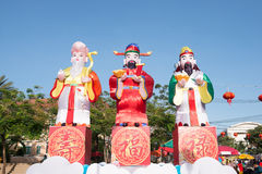 Beautiful lantern 3 chinese gods in chinese new year Royalty Free Stock Photo