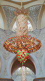Beautiful Lantern in the Mosque. Sheikh Zayad Mosque Center. One of the largest Chandelier in the world Stock Image
