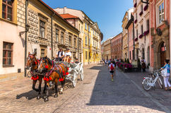 Beautiful old town-Cracow-Poland-horse drawn Royalty Free Stock Images