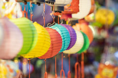 Beautiful Lantern with selective focus in Chinese town Stock Images