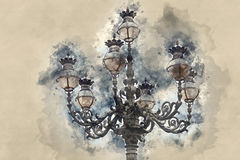 Beautiful lantern on St Peters Square in Catican City - Rome. Illustration Royalty Free Stock Photo