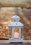 Beautiful lantern on wooden table Stock Photography
