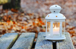 Beautiful lantern on wooden table in autumn forest Stock Photography