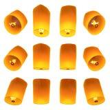 Beautiful Lanterns flying isolated on white background Royalty Free Stock Photography