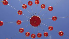 Chinese lanterns lamps and blue sky stock video