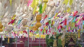 Beautiful lanterns in Loy Krathong festival. In Lamphun Chiang Mai Thailand stock footage