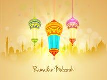 Beautiful lanterns and mosque for Ramadan Mubarak. Stock Image