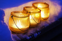 Beautiful lanterns on snow Stock Image