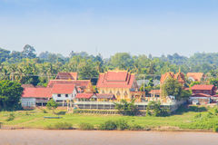 Beautiful Lao Temple, View from Thasadet Pier, Nongkhai, Thailand stock photos