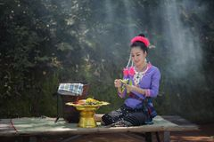 Laos woman. Beautiful Laos girl in  costume,Asian woman wearing traditional Laos culture,vintage style,traditional suit Royalty Free Stock Photography