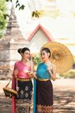 Beautiful Laos girls in traditional Lao traditional dress . Stock Photo