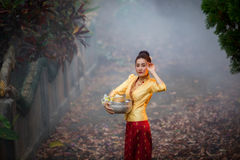 Beautiful Laos women in Laos traditional dress royalty free stock photos