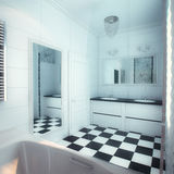 Beautiful Large Bathroom in Luxury Home Royalty Free Stock Photography