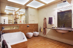 Beautiful Large Bathroom. In Luxury Home Royalty Free Stock Images
