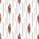 Beautiful large bright colored feather pattern. Beautiful large bright colored feather. seamless pattern with geometric elements wavy lines vector illustration
