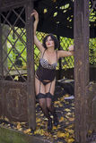 Beautiful large full brunette girl in sexy black lingerie, stockings and corsage in old ruins metal decorated public buildings. Stock Images