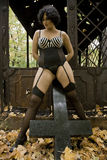 Beautiful large full brunette girl in sexy black lingerie, stockings and corsage in old ruins metal decorated public buildings. Royalty Free Stock Images