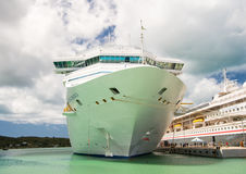 Beautiful large luxury cruise ship at moorage St. John, Antigua Royalty Free Stock Photography