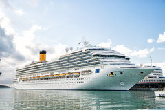 Beautiful large luxury cruise ship at moorage St. John, Antigua Royalty Free Stock Photo