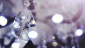 Beautiful large oval shape crystal of a chandelier. stock footage