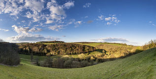 Beautiful large panorama landscape of countryside on bright Spri Royalty Free Stock Image