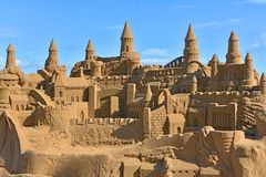 Beautiful large sand castle on Malvarrosa beach Stock Image