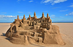 Beautiful large sand castle on Malvarrosa beach Royalty Free Stock Image