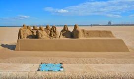 Beautiful large sand sculpture  on Malvarrosa beach Royalty Free Stock Photography
