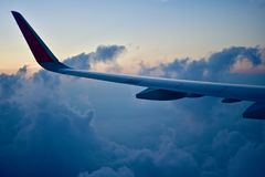 Large wings of an aircraft isolated unique photo Stock Photo
