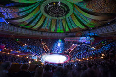 Beautiful laser show in Arena of the Great Moscow State Circus Royalty Free Stock Photography