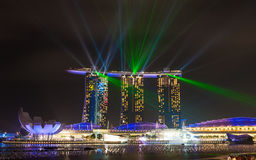 Beautiful laser show at the Marina Bay Stock Images