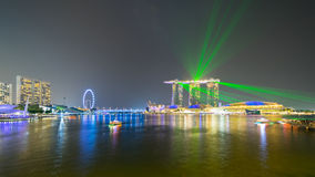 Beautiful laser show at the marina bay waterfront in singapore Stock Photography