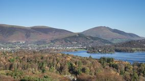 Beautiful late afternoon Autumn Fall landscape image of the view from Catbells near Derwent Water in the Lake District towards