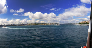 Beautiful late afternoon panorama on Istanbul city from a boat Royalty Free Stock Photography