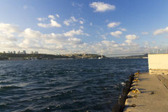 Beautiful late afternoon view on Istanbul city and an Euro-Asia bridge Stock Photos