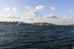 Beautiful late afternoon view on Istanbul city and a Euro-Asia bridge Royalty Free Stock Images