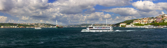 Beautiful late afternoon view on Istanbul city and the euro-asia bridge Royalty Free Stock Image