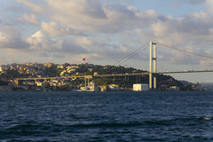 Beautiful late afternoon view on one of the bridges connecting Europe and Asia, Istanbul city Royalty Free Stock Photography