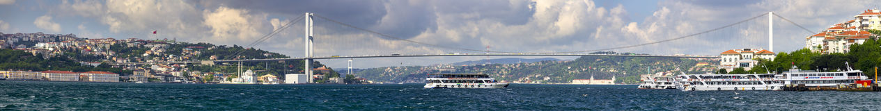 Beautiful late afternoon view one of the bridges connecting Europe and Asia in Istanbul Stock Photo
